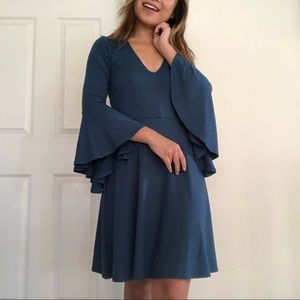 Dark Blue Socialite Dress with Bat Wing Sleeves